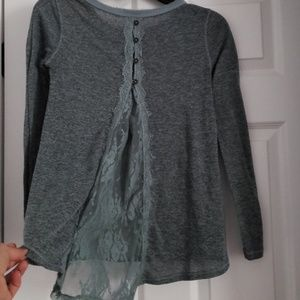 Teal and grey long sleeve top